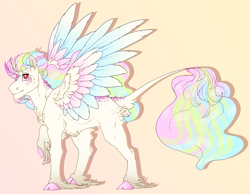 Size: 2500x1937 | Tagged: safe, artist:seffiron, oc, oc only, oc:crystal feather, alicorn, pony, alicorn oc, cloven hooves, colored wings, horn, male, multicolored wings, offspring, parent:king sombra, parent:princess celestia, parents:celestibra, solo, stallion, unshorn fetlocks, wings