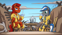 Size: 2560x1440 | Tagged: safe, artist:mysticalpha, oc, oc only, oc:captain sunride, oc:cloud zapper, pegasus, pony, armor, barbed wire, cup, food, male, pegasus oc, royal guard, royal guard armor, shield, stallion, sword, table, tea, teacup, weapon, wings