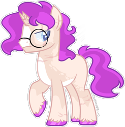Size: 1434x1458   Tagged: safe, artist:kurosawakuro, oc, oc only, pony, unicorn, broken horn, glare, glasses, horn, magical lesbian spawn, male, offspring, parent:sunset shimmer, parent:twilight sparkle, parents:sunsetsparkle, simple background, solo, stallion, transparent background, unicorn oc