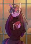 Size: 1721x2464   Tagged: safe, artist:1an1, twilight sparkle, unicorn, anthro, blushing, book, clothes, eye clipping through hair, female, glasses, looking at you, sweater, turtleneck