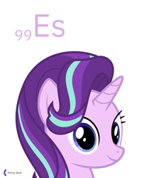Size: 4000x5000   Tagged: safe, artist:parclytaxel, starlight glimmer, pony, unicorn, series:joycall6's periodic table, .svg available, absurd resolution, bust, chemistry, cute, einsteinium, female, glimmerbetes, looking at you, mare, periodic table, portrait, simple background, smiling, solo, vector, white background