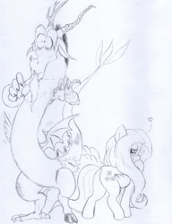 Size: 981x1280   Tagged: safe, artist:aliciavanhammer, discord, fluttershy, draconequus, pegasus, pony, blushing, butt, discoshy, female, flirting, flutterbutt, male, pencil drawing, plot, shipping, shrunken pupils, sketch, spanking, straight, surprised, this will end in snu snu, traditional art, wing hands, wings