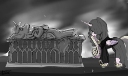 Size: 2419x1440 | Tagged: safe, artist:minty joy, princess cadance, shining armor, alicorn, pony, unicorn, armor, clothes, corpse, dead, dress, feels, female, future, grave, immortality blues, lord of the rings, lying down, male, monochrome, mourning, on back, sad, shiningcadance, shipping, straight, sword, weapon