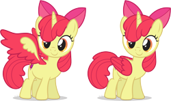 Size: 3815x2266 | Tagged: safe, artist:le-23, apple bloom, alicorn, pony, adorabloom, alicornified, bloomicorn, colored wings, cute, cutie mark, female, folded wings, race swap, simple background, solo, spread wings, transparent background, wings
