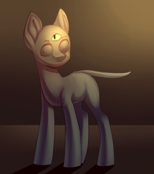 Size: 1693x1910   Tagged: safe, artist:helemaranth, oc, oc only, earth pony, pony, bald, earth pony oc, looking back, solo, third eye