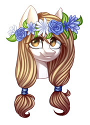 Size: 1408x1956   Tagged: safe, artist:helemaranth, oc, oc only, earth pony, pony, bust, earth pony oc, floral head wreath, flower, simple background, smiling, solo, transparent background