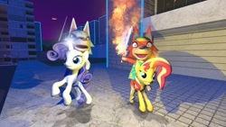 Size: 1280x720 | Tagged: safe, artist:horsesplease, rarity, unicorn, wolf, 3d, animal crossing, animal crossing: new horizons, audie (animal crossing), female, fire, fire sword, flaming sword, gmod, magic, sword, weapon, whitney (animal crossing), wolves riding ponies