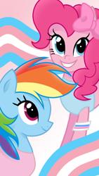 Size: 1080x1920 | Tagged: safe, artist:sallyso, pinkie pie, rainbow dash, earth pony, pegasus, pony, bow, clothes, duo, female, gender headcanon, grin, hair bow, lgbt headcanon, mare, pride, pride flag, shirt, smiling, t-shirt, tanktop, trans female, transgender, transgender pride flag, wristband