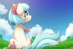 Size: 1920x1280 | Tagged: safe, artist:symbianl, coco pommel, earth pony, pony, beautiful, blushing, both cutie marks, cocobetes, cute, female, flower, mare, scenery, sitting, sky, solo, windswept mane, windswept tail