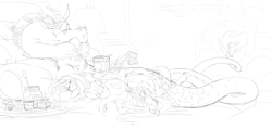 Size: 8093x3872   Tagged: safe, artist:snspony, discord, fluttershy, draconequus, pegasus, pony, discoshy, female, food, ice cream, male, pickles, pregnant, shipping, straight