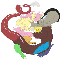Size: 4161x4145   Tagged: safe, artist:snspony, discord, fluttershy, draconequus, pegasus, pony, cute, discoshy, female, male, pregnant, shipping, sleeping, straight