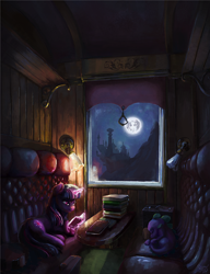 Size: 1500x1953   Tagged: safe, artist:nemo2d, spike, twilight sparkle, dragon, pony, unicorn, book, canterlot, commission, duo, eyes closed, fanfic, fanfic art, fanfic cover, female, full moon, lying down, magic, male, mare, mare in the moon, moon, night, prone, reading, sky, sleeping, telekinesis, train car, unicorn twilight