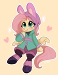 Size: 787x1017 | Tagged: safe, artist:colorfulcolor233, fluttershy, pegasus, pony, equestria girls, blushing, bunny ears, clothes, cute, equestria girls ponified, female, heart, mare, ponified, shyabetes, simple background, sitting, solo, winter outfit, yellow background