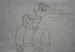 Size: 2012x1400 | Tagged: safe, artist:peternators, edit, oc, oc only, oc:blackjack, pony, unicorn, fallout equestria, fallout equestria: project horizons, fanfic art, female, happy, mare, monochrome, pipbuck, rain, sketch, smiling, solo, text, traditional art, wagon