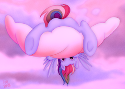 Size: 1280x919 | Tagged: safe, artist:ihniyart, rainbow dash, pegasus, pony, butt, cloud, cute, dashabetes, featureless crotch, female, looking at you, looking back, looking back at you, lying down, mare, on a cloud, plot, prone, sky, solo, upside down