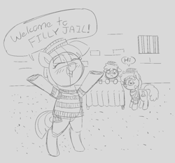 Size: 1017x946   Tagged: safe, artist:heretichesh, oc, oc only, earth pony, pony, blushing, clothes, cup, dialogue, female, filly, frown, hat, jail, prison outfit, prisoner, smiling, stoic, stripes, table, tablecloth, text, trio, window, window bars
