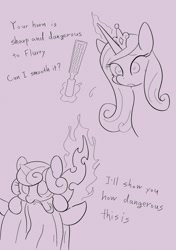 Size: 1442x2048   Tagged: safe, artist:noupu, princess cadance, princess flurry heart, queen chrysalis, alicorn, changeling, pony, baby, baby pony, bust, cute, dialogue, female, glowing horn, horn, mare, monochrome