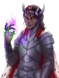 Size: 1630x2160 | Tagged: safe, alternate version, artist:gervitasia, king sombra, human, armor, glowing hands, horn, horned humanization, humanized, male, simple background, solo, white background
