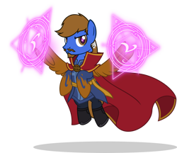 Size: 1280x1108   Tagged: safe, artist:mlp-trailgrazer, oc, oc:gamelink, pony, clothes, cosplay, costume, doctor strange, simple background, solo, transparent background
