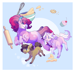 Size: 2200x2100   Tagged: safe, artist:uunicornicc, pinkie pie, oc, oc:cookie crumble, oc:love heart, pony, alternate design, batter, cookie, cupcake, female, filly, food, offspring, parent:cheese sandwich, parent:pinkie pie, parents:cheesepie, rolling pin