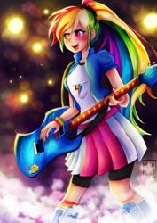 Size: 736x1041 | Tagged: safe, artist:meqiopeach, applejack, rainbow dash, human, equestria girls, rainbow rocks, anniversary, art, awesome as i want to be, blushing, clothes, concert, cute, dashabetes, digital, drawing, fanart, female, guitar, hard rock, human coloration, multicolored hair, musical instrument, night, outdoors, performance, ponytail, rainbow hair, rock (music), shadow, skirt, smoke, socks, song reference, sparkles, sticker