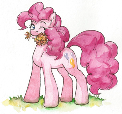 Size: 1135x1062 | Tagged: safe, artist:tigra0118, pinkie pie, looking at you, my little pony, solo, standing, traditional art, watercolor painting