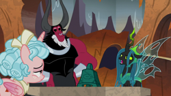 Size: 1920x1080 | Tagged: safe, screencap, cozy glow, lord tirek, queen chrysalis, alicorn, the ending of the end, alicornified, bell, bewitching bell, cozycorn, race swap