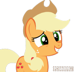 Size: 1077x1046   Tagged: safe, artist:indonesiarailroadpht, applejack, earth pony, pony, show accurate, simple background, smiling, solo, transparent background, watermark