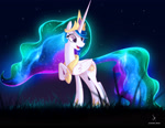 Size: 2960x2282 | Tagged: safe, artist:zidanemina, princess celestia, alicorn, pony, crown, ethereal mane, ethereal tail, female, glowing mane, grass, happy, jewelry, mare, night, open mouth, regalia, smiling, solo