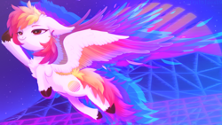 Size: 1920x1080 | Tagged: safe, artist:astralblues, artist:starrcoma, oc, oc:fader, pegasus, pony, colored wings, cute, ear fluff, ear piercing, earring, feather, female, fluffy, flying, hoof fluff, jewelry, mare, multicolored wings, piercing, solo, sunset, vaporwave, vaporwave aesthetic, wings