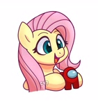 Size: 2949x3136 | Tagged: safe, artist:handgunboi, fluttershy, pegasus, pony, among us, crewmate, cute, female, happy, mare, open mouth, shyabetes, simple background, solo, white background