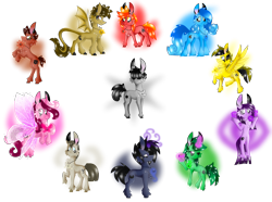 Size: 3500x2600 | Tagged: safe, artist:chu-and-sparky-127, dracony, dragon, earth pony, hybrid, pegasus, pony, unicorn, broken horn, butterfly wings, glow, glowing hooves, glowing horn, hair over eyes, horn, pokémon, ponified, rearing, simple background, transparent background, wings