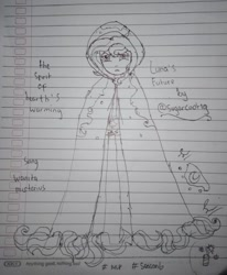 Size: 674x817 | Tagged: safe, artist:payshiechastityart, princess luna, spirit of hearth's warming yet to come, a hearth's warming tail, equestria girls, cloak, clothes, equestria girls-ified, female, lineart, lined paper, solo, traditional art