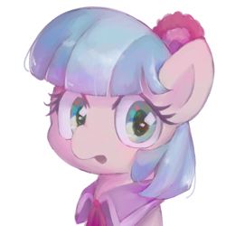 Size: 1000x1000 | Tagged: safe, artist:lexiedraw, artist:lexiedrawing, coco pommel, pony, bust, portrait, simple background, solo, white background