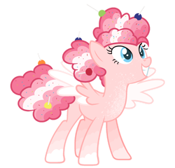 Size: 1024x983 | Tagged: safe, artist:sapphiretwinkle, pinkie pie, pegasus, pony, alternate design, pegasus pinkie pie, race swap, simple background, solo, transparent background, two toned wings, wings