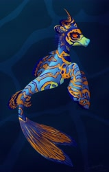 Size: 2722x4285 | Tagged: safe, artist:selenophile, oc, oc only, oc:dragonet, fish, seapony (g4), tropical fish