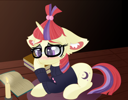 Size: 1920x1494 | Tagged: safe, artist:windykirin, moondancer, pony, unicorn, book, candle, crying, cute, ear fluff, female, floppy ears, glasses, mare, sad, sadorable, solo
