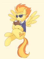 Size: 2270x3058 | Tagged: safe, artist:arrow__root, spitfire, pegasus, pony, clipboard, clothes, female, flying, high res, mare, orange background, simple background, solo, spread wings, sunglasses, uniform, wings, wonderbolts dress uniform