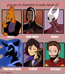 Size: 1134x1280 | Tagged: safe, artist:fajnk02, nightmare moon, alicorn, hornet, human, insect, pony, anthro, anthro with ponies, beard, bust, code geass, cookie run, crossover, dark choco cookie, eye scar, facial hair, female, gregg lee, helmet, hollow knight, lelouch vi britannia, male, mare, marvel comics, mysterio, night in the woods, scar, shovel knight, six fanarts