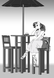 Size: 694x1000 | Tagged: safe, artist:pia-sama, rarity, unicorn, anthro, plantigrade anthro, breasts, busty rarity, clothes, commission, crossed legs, feet, gradient background, grayscale, legs, monochrome, sandals, shoes, sitting, solo
