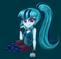 Size: 1024x994 | Tagged: safe, artist:rileyav, sonata dusk, equestria girls, adorasexy, blue background, breasts, cleavage, clothes, cute, female, grin, hand on chin, leggings, looking at you, lying down, on side, sexy, shorts, simple background, smiling, smirk, solo, sonatabetes, tanktop, wristband