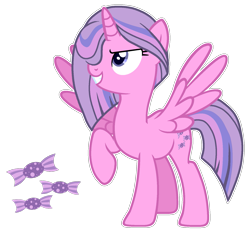 Size: 1703x1564 | Tagged: safe, artist:twinklecometyt, alicorn, pony, female, magical lesbian spawn, mare, offspring, parent:clear sky, parent:twilight sparkle, raised hoof, simple background, solo, transparent background