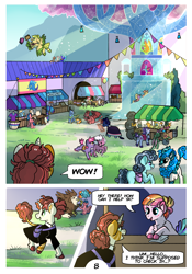Size: 2100x3000 | Tagged: safe, artist:loryska, ocellus, sandbar, smolder, toola roola, oc, oc:clarabelle, changedling, changeling, dragon, griffon, pony, comic:friendship grows, comic, offspring, older, parent:pipsqueak, parent:sweetie belle, parents:sweetiesqueak, stained glass