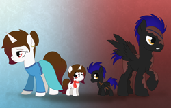 Size: 2746x1750 | Tagged: safe, artist:dyonys, oc, oc:diamond cave, oc:dragon fly, pegasus, unicorn, age progression, burned, female, male, mare, scar, self ponidox, siblings, stallion