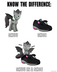 Size: 1024x1280 | Tagged: safe, artist:batponyecho, oc, oc only, oc:shutterstock, bat pony, pony, 3d, bat pony oc, bat wings, bedroom eyes, clothes, laughing, male, shoes, simple background, solo, source filmmaker, spread wings, stallion, tail, text, wings