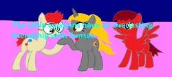 Size: 1280x578 | Tagged: safe, artist:disneyponyfan, oc, earth pony, pegasus, pony, unicorn, glasses, leo, little einsteins, ponified, text
