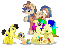 Size: 1280x968 | Tagged: safe, artist:rainbowtashie, braeburn, wind waker (character), oc, oc:azure spice, oc:cinnamon spectrum, oc:rainbow tashie, oc:spicy cider, oc:tommy the human, alicorn, earth pony, pegasus, pony, clothes, colt, commissioner:bigonionbean, cowboy hat, cutie mark, earth pony oc, father and child, father and daughter, father and son, female, filly, fusion, fusion:spicy cider, hat, husband and wife, like father like daughter, like father like son, like mother like daughter, like mother like son, like parent like child, male, mare, mother and child, mother and daughter, mother and son, oc x oc, palindrome get, shipping, simple background, stallion, stetson, straight, transparent background, writer:bigonionbean