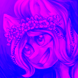 Size: 2449x2449   Tagged: safe, artist:helemaranth, oc, oc only, earth pony, pony, bust, earth pony oc, floral head wreath, flower, grin, smiling, solo