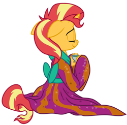 Size: 1024x1006 | Tagged: safe, artist:emeraldblast63, artist:tsitra360, artist:vest, sunset shimmer, pony, clothes, cute, food, kimono (clothing), redraw, show accurate, sitting, tea