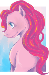 Size: 882x1348 | Tagged: safe, alternate version, artist:elalabadodiospanda, earth pony, pony, bust, female, mare, smiling, solo
